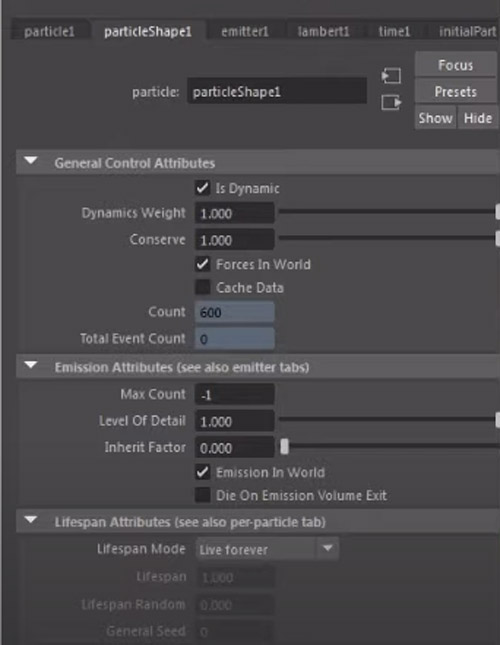 particle flow options in maya